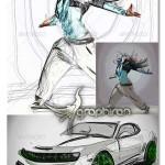 اکشن فتوشاپ ساخت افکت نقاشی با خطوط در هم Scribble Action