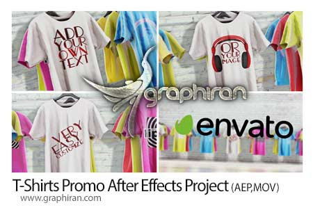 پروژه افتر افکت نمایش تی شرت های تبلیغاتی