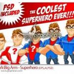 دانلود طرح های وکتور و PSD کاراکتر کارتونی مرد ابر قهرمان