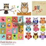 دانلود مجموعه تصاویر وکتور جغدهای زیبا Owls EPS Vector