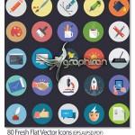 دانلود مجموعه ۸۰ آیکون فلت وکتور لایه باز Flat Vector Icons