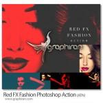 اکشن فتوشاپ افکت رنگ قرمز عکس فشن Red FX Fashion Action