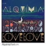 فونت انگلیسی خاص Alquimia با طرح سمبل ها باستانی و خطوط هندسی