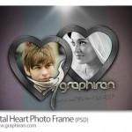 دانلود قاب عکس زیبا با فریم های قلب فلزی فرمت PSD لایه باز