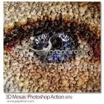 اکشن فتوشاپ ساخت افکت موزاییک های دایره ای ۳ بعدی ۳D Mosaic