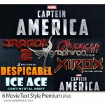 دانلود ۶ استایل فتوشاپ فیلم های سینمایی مشهور Movie Text Style