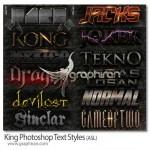 دانلود مجموعه استایل های حرفه ای فتوشاپ King Photoshop Text Styles