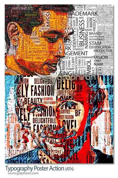 اکشن فتوشاپ ساخت پوستر تایپوگرافی