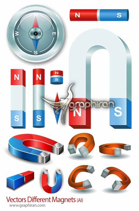 Vectors Different Magnets دانلود تصاویر وکتور انواع آهنربا Magnets Vector