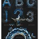 تصاویر گرافیکی حروف انگلیسی خرد شده Shattered Letters PNG
