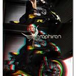اکشن فتوشاپ ساخت افکت عکس سه بعدی ۳D Glitch Photoshop Effect