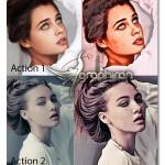 اکشن های فتوشاپ طراحی افکت نقاشی دیجیتال Digital Drawing 1-2