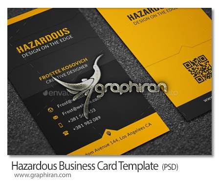 Hazardous Business Card Template نمونه کارت ویزیت عمودی با تم رنگ زرد فرمت PSD   شماره 241