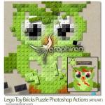 اکشن فتوشاپ تبدیل عکس های عادی به پازل های اسباب بازی لگو