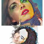 اکشن فتوشاپ تبدیل تصاویر به نقاشی روی کاغذ Paper Art Action