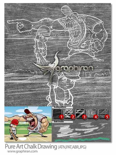 اکشن فتوشاپ ساخت افکت نقاشی با گچ