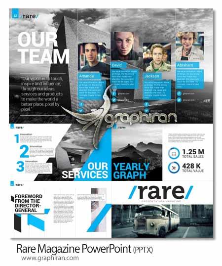 Rare Magazine PowerPoint دانلود رایگان قالب PowerPoint جدید با 2 تم رنگی   شماره 32