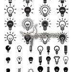 دانلود تصاویر وکتور سیاه و سفید انواع لامپ Silhouettes Lamp