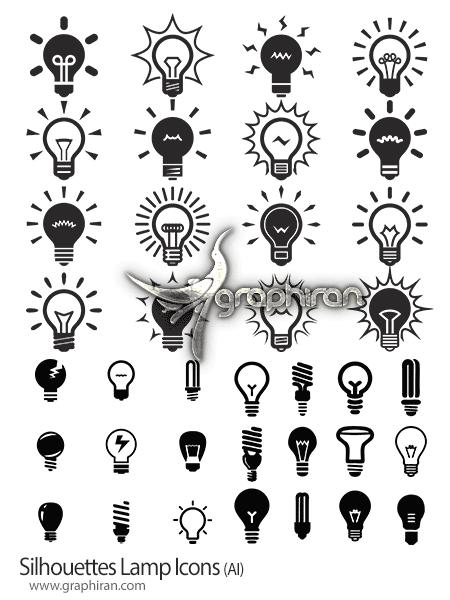 وکتور سیاه و سفید انواع لامپ
