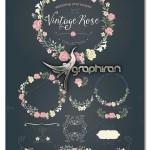 المان های گرافیکی گل رز برای طراحی عروسی Rose Wedding Set