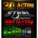 دانلود اکشن فتوشاپ ساخت متن و لوگو سه بعدی ۳D Action Pack