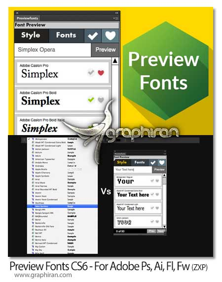 افزونه Preview Fonts CS6