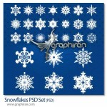 دانلود طرح لایه باز دانه های برف زیبا Snowflakes PSD Set