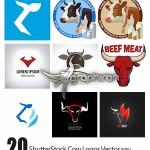 دانلود ۲۰ طرح وکتور آرم و لوگوی گاو محصول ShutterStock