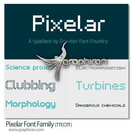 pixelar دانلود خانواده فونت های Pixelar با طراحی پیکسلی حرفه ای