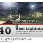۴۰ براش فتوشاپ رعد و برق با کیفیت HQ Lightning Bolt Brushes
