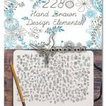 ۲۲۸ طرح گل تزئینی طراحی شده با دست Hand Drawn Elements