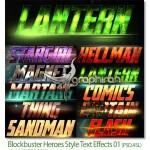 استایل های فتوشاپ Blockbuster Heroes Style Text Effects