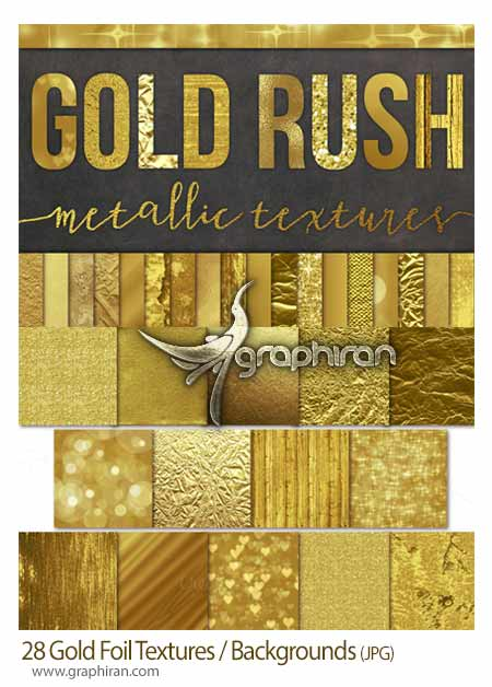 28 Gold Foil Textures Backgrounds مجموعه تکسچر و بک گراند ورق طلا Gold Foil Textures Backgrounds