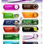 دکمه های طراحی وب سایت PSD برای محصولات و برندهای تجاری