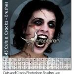۴۵ براش فتوشاپ بریدگی و ترک Cuts & Cracks Photoshop Brushes
