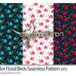 وکتور طرح های پترن گل و بلبل Vector Floral Birds Pattern