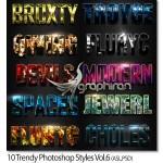 ۱۰ استایل فتوشاپ مد روز و زیبا Trendy Photoshop Styles Vol.6