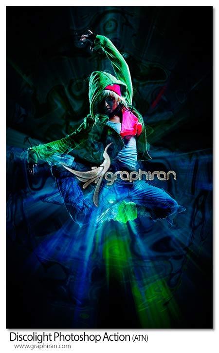 اکشن فتوشاپ افکت نورهای رنگی زیبا