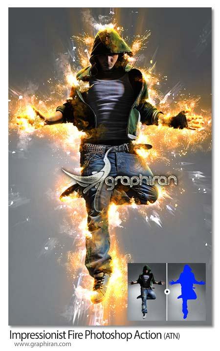 اکشن فتوشاپ افکت آتش امپرسیونیستی