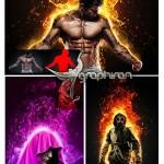 اکشن فتوشاپ حرفه ای افکت آتش گرفتن Burn Photoshop Action