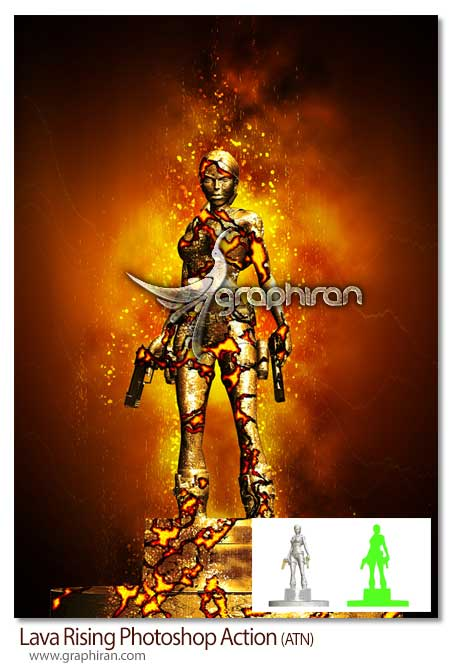 Lava Rising Photoshop Action اکشن افکت مواد مذاب آتشفشانی Lava Rising Photoshop Action