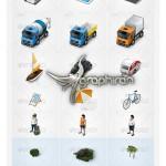 مجموعه آیکون و المان های طراحی نقشه Map Icons & Elements V1