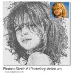 اکشن تبدیل عکس عادی به نقاشی با مداد Photo to Sketch V.1