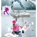 اکشن فتوشاپ ساخت شکستن شیشه Shatter Glass Photoshop Action