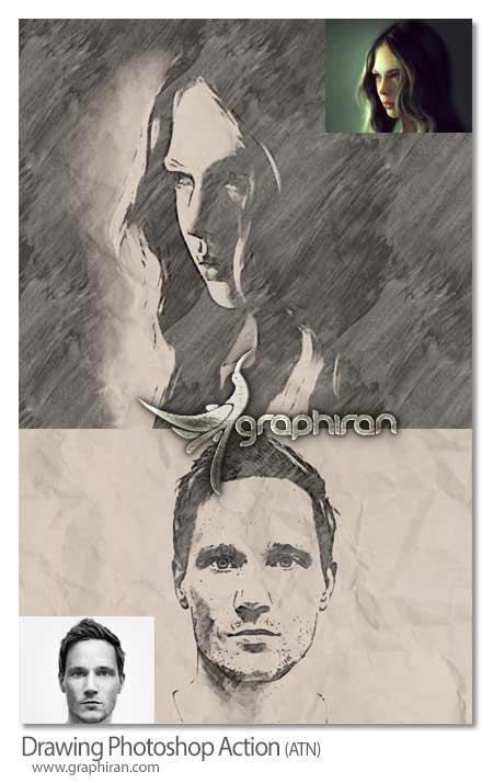 اکشن فتوشاپ نقاشی سیاه و سفید