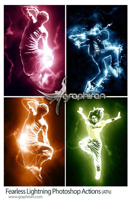 اکشن فتوشاپ رعد و برق های رنگی