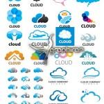 دانلود مجموعه تصاویر وکتور لوگو موضوع ابر در طرح های متنوع