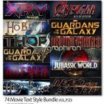 پک ۷۴ استایل فتوشاپ فیلم های سینمایی Movie Text Style Bundle