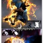 اکشن فتوشاپ ساخت شعله آتش زیبا AfterBurn 3 Photoshop Action