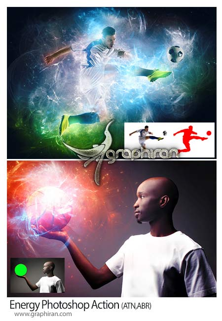اکشن فتوشاپ ساخت افکت انرژی جذاب
